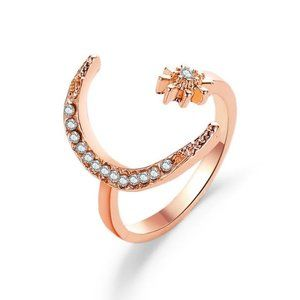 Crescent Moon and Star Classy Open Ring